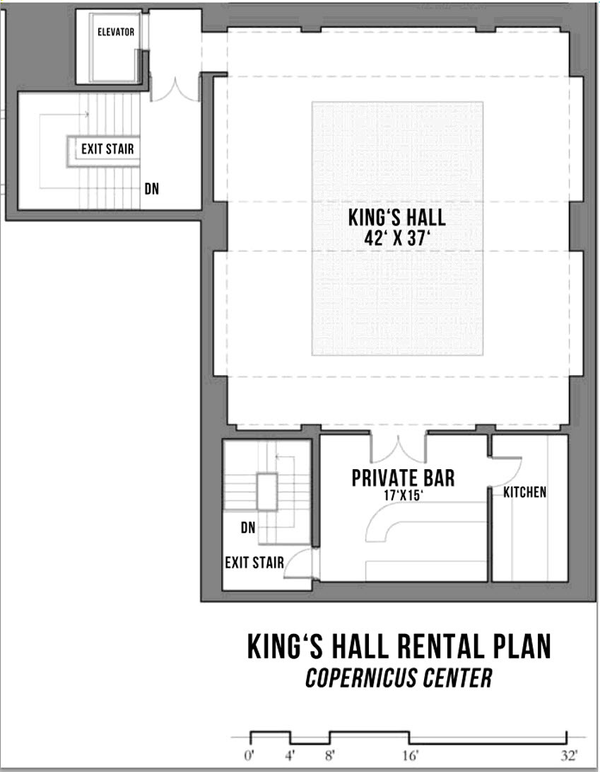 King's Hall | Venue Rental | Floor Plan | Copernicus Center | King's Hall Wynajem