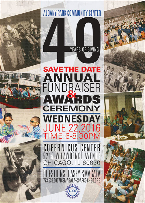 Albany Park Community Center, APCC, Fundraiser, 40 Years of Giving, 40 Years of Giving Tickets, Casey Smagala, North Shore Community Bank, Dennis Hammer, Peggy Boyd, Labelmaster, Precision Plating, Awards Ceremony, Jerry Freedman, Head Start, Smoque BBQ, Charity, Benefit, Marti Corcoran, Chicago, Albany Park, Copernicus Center