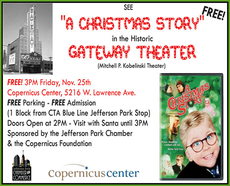 a Christmas Story, Christmas movie, Copernicus Center, family event, Free Family Event, free movie, Jefferson Park, Jefferson Park Chamber of Commerce, Santa, Santa visit