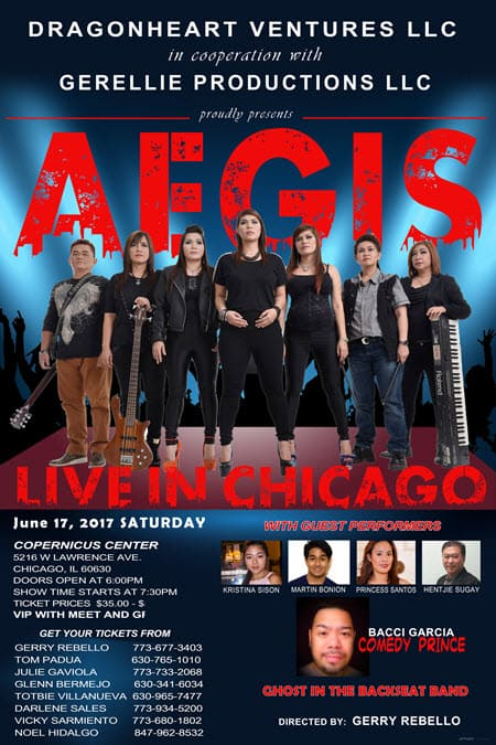 Live concert, June 17, 2017, AEGIS Band, the Aegis Band, Heavy Metal, Hard Rock, Blues Metal, OPM rock, Original Pinoy Music, Filipino Concert, Chicago, Copernicus Center, Aegis Band tickets