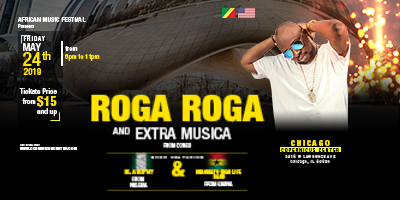 African Music Festival 2019, Roga Roga & Extra Musica, NYANSAPO HIGHLIFE BAND, Ik Adophy & De-Meritable Band, Live Reggae music in Chicago, Live Concerts in Chicago, Copernicus Center, Republic of Congo in Chicago, Sylvere Malonga, African Music Festival tickets, 2019-05-24