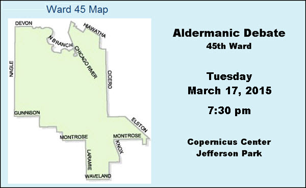 45th Ward, aldermanic debate, Chicago, debate, Jefferson Park, John Arena, John Garrido, Copernicus Center