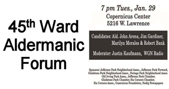 45th ward Aldermanic Forum, 45th Ward chicago, Aldermanic Forum Copernicus Center, Chicago, 1/29/2019