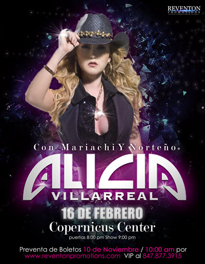 Alicia Villareal en Concierto, Chicago IL, Copernicus Center, Reventon Promotions events