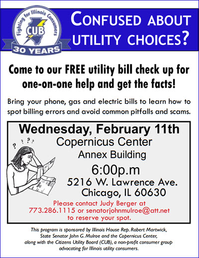 utility help, utilities, bill errors, CUB, utility help, review bill, Copernicus Center, Chicago, free event