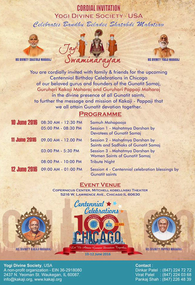 Swaminarayan, Yogi Divine Society, Kakaji, Pappaji, Jyotiben, Centennial, Centenary, Celebrations, Birthday, Guruji, Hariprasad Swamiji, Saheb, Deviben, Dinkar Uncle, Akshar Purushottham, Akshar Purushottam, Chicago, 2016, Gunatit Samaj, Copernicus Center, Mahapooja, Hindu