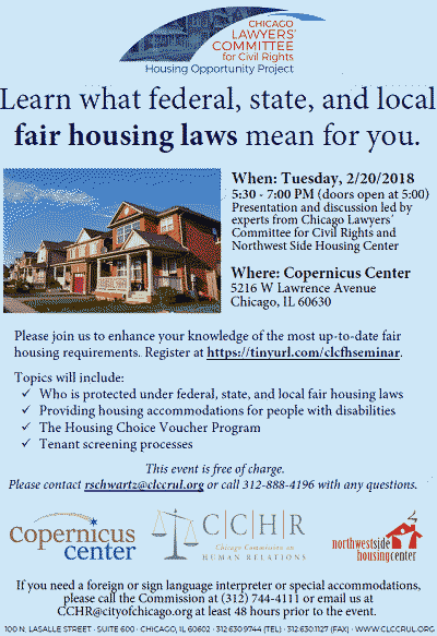fair housing laws, housing discrimination, fair housing training, fair housing, housing rights, tenants rights, copernicus center, Chicago Lawyers Committee for Civil Rights, Northwest Side Housing Center, Chicago CHR, fair housing seminar 2-20-2018