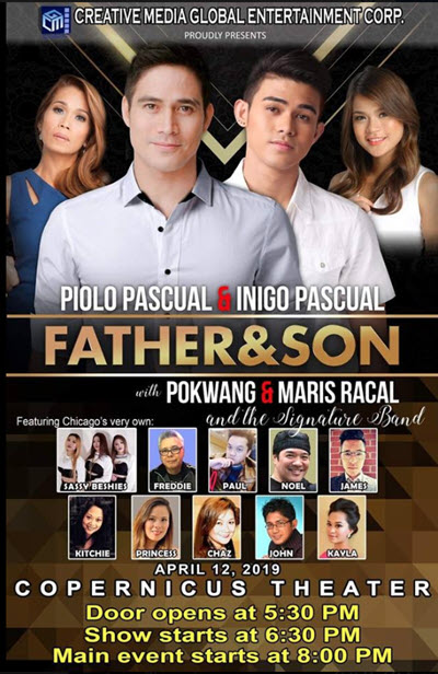 Father and Son Chicago, Piolo Pascual, Inigo Pascual, Pokwang, Maris Racal, Filipino events in Chicago, Copernicus Center Chicago, Things to do in Chicago, 4/12/2019
