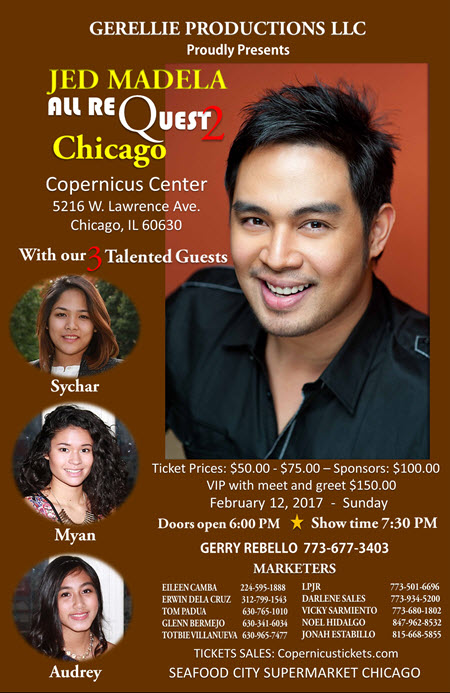 Jed Madela all requests 2, All Requests Chicago 2, Chicago, Copernicus Center, Filipino events, Jed Madela, Jed Madela all requests, , Live Concerts, Chicago Events, 2/12/2017, February events, tickets, Gerellie Productions LLC