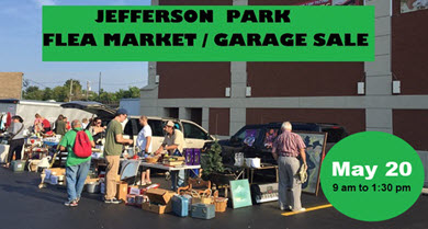 Jefferson Park flea market, Jefferson Park garage sale, May 20, 2018, Jefferson Park Chamber of Commerce, Jefferson Park Neighborhood Association, Copernicus Center