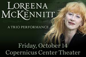 Loreena McKennitt, celtic muisc, gaelic music, Chicago events, Trio Performance series, Copernicus Center, Brian Hughes, Caroline Lavelle, 10/14/16, Chicago, October events