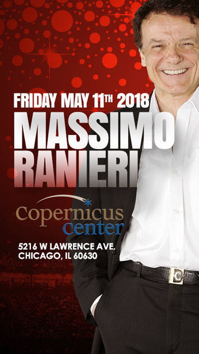 Massimo Ranieri concert, Massimo Ranieri in Chicago, May 11 2018 concert, Copernicus Center Chicago