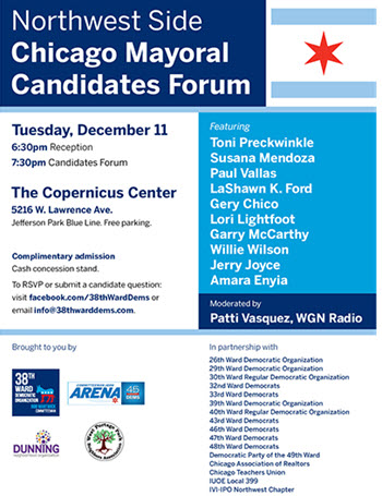 Northwest Side Mayoral Candidates Forum, mayor elections, mayoral candidates, community forum, Chicago mayoral debate, Copernicus Center Chicago, Jefferson Park mayoral forum, Toni Preckwinkle, Paul Vallas, LaShawn K. Ford, Gery Chico, Garry McCarthy, Lori Lightfoot, Susana Mendoza, 2019 Chicago mayor election, Willie Wilson