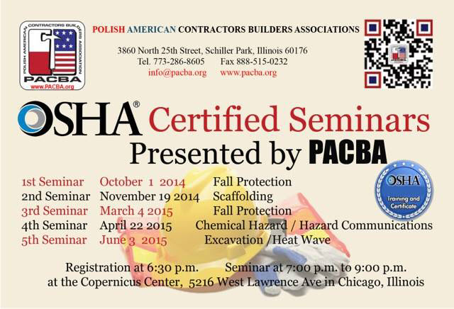 OSHA | PABCA | Chicago | Seminar | Builders | Contractors | training