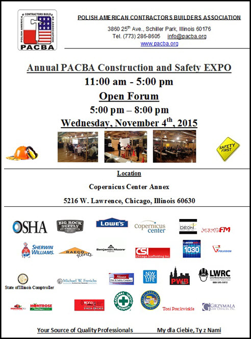 PACBA, Construction and Safety EXPO, Construction Expo, Safety Expo, 11/4/2015, Big Rock Supply, Lowe's, Chief Procurement, Latino Worker Resource Center, Sherwin Williams, Raeco Rentals, Benjamin Moore J.C. Light, Polish Women In Business, Chicago Scaffolding, Illinois State Comptroller, Illinois State Treasurer, Illinois Fire & Safety Commission, National Safety Council, New York Life Insurance, OSHA, Chicago, Copernicus Center