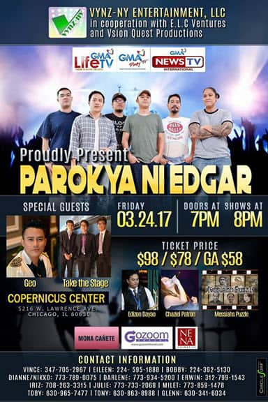 Parokya ni edgar usa tour, chito miranda, geo ed rebucas, Filipino Events chicago, chicago, Copernicus Center, Parokya ni Edgar, Take the Stage, Geo ed Rebucas, Edizon Dayao, Messiahs puzzle, J-Rob, Chaziel Patron
