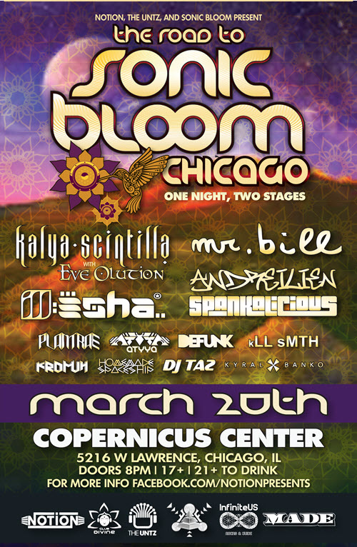 kalya, kalya scintilla, plantrae, infrasound, infrasound music festival, sonic bloom, sonic bloom festival, kll smth, kromuh, homemade spaceship, mr bill, evolution, andreilien, heyoka, ill esha, kyral, kyral x banko, banko, dj taz, tazdeen, tazdeen rashid, club divine, defunk, desert dwellers, infected mushroom, shpongle, notion, notion presents, gizmo productions, music, psytrance, chicago, funk, electronic music, electronic, live music, spankalicious, ill esha, ill, esha, the untz, glitch, bass, heady, made gallery, Copernicus center