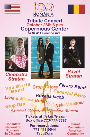 Centenar Chicago Concert, Tribute Concert Romania 100 Centennial,  Romania Illinois, Romanian American Community, Romanian Consulate General of Romania in Chicago,  Unity Music Songs Concerts,  Concert Anniversary 100 years anniversary Romania, Romania's Centennial Concert, Copernicus Center Chicago, 28 October 2018, 10/28/2018, Cleopatra Stratan, Pavel Stratan