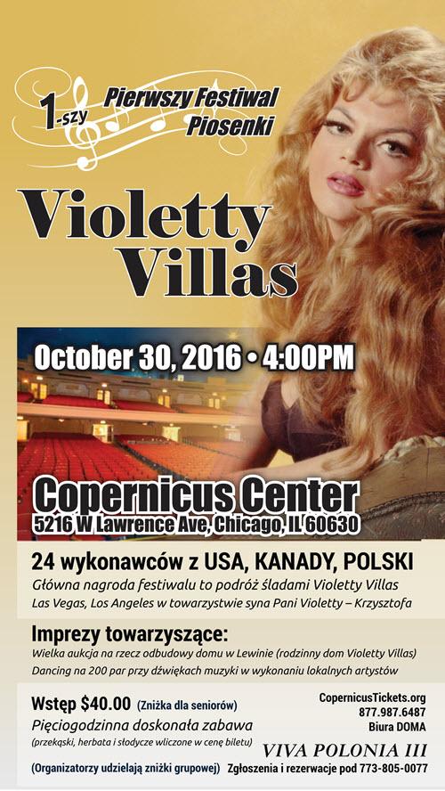 Bilety, Pierwszy Festiwal Piosenki Violetty Villas, Violetta Villas, Chicago koncert, Violetta Villas, Festiwal Violetty Villas, Chicago impreza, Copernicus Center