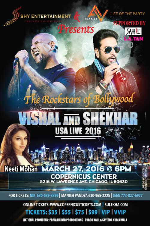 Vishal and Shekhar, Vishal, Shekhar, Vishal & Shekhar, 2016, USA, Neeti Mohan, Chicago, 3/27/2016, Rockstars of Bollywood, Neeti Mohan, Copernicus Center