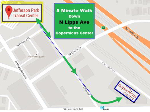 Public Transportation To The Copernicus Center Walk From Jefferson Park Terminal