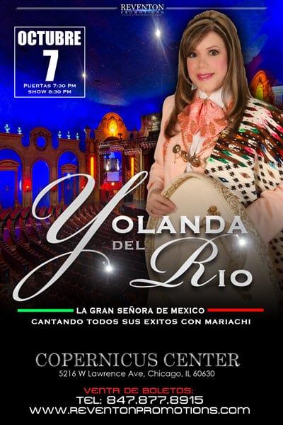 Yolanda DEl Rio En Concierto con Mariachi, Sábado 7 de Octubre, Copernicus Center, Yolanda Del Rio concierto, Boletos Yolanda del Rio